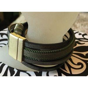 Ann Taylor Loft Olive Green Rhinestone Bracelet